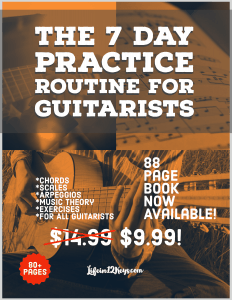 Practice Routine For Guitarists. The 7 Day Practice Routine for Guitarists eBook is out now! Over 80 Pages of Chords, Scales, Arpeggios and Music examples including a comprehensive 7 Day Practice Routine.