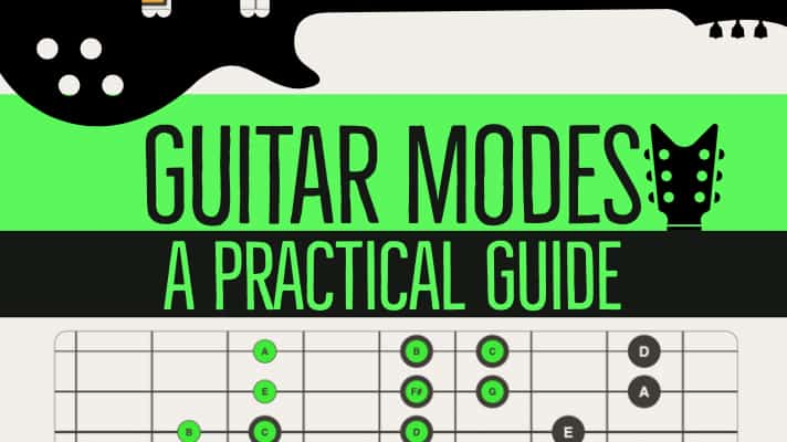 Guitar Modes - A Practical guide to learning modal shapes across the guitar neck. Includes traditional block shapes, chord forms and modern 3 note per string guitar shapes. Includes Free 16 Page PDF mini-book.