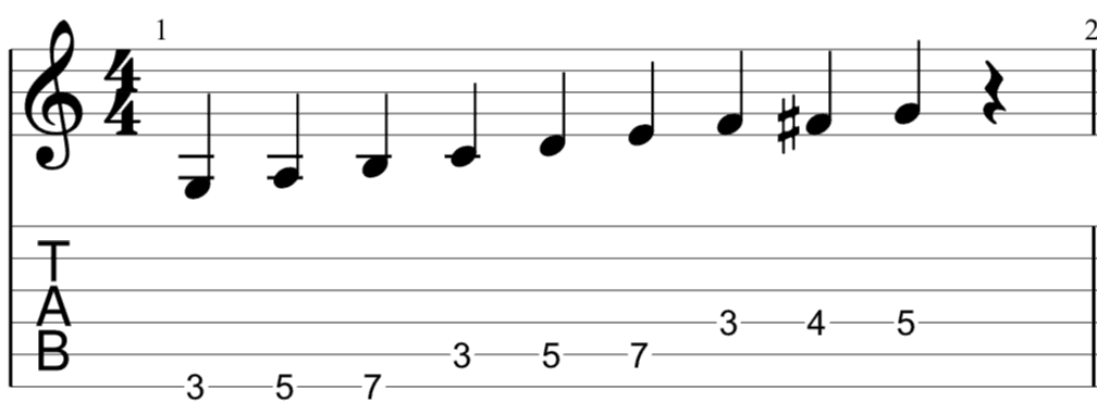 G Dominant Bebop Scale