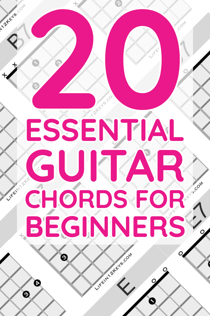20 Essential Guitar Chords for Beginners including Free PDF mini-book, music theory and more.